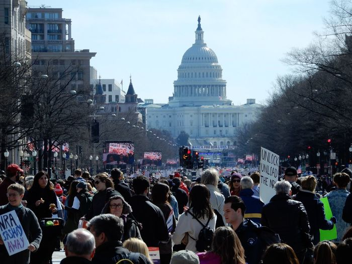 2nd Amendment Protest Washington DC Building Exterior Built Structure City Life Crowd Large Group Of People Real People Street The Capital The Capitol Tree