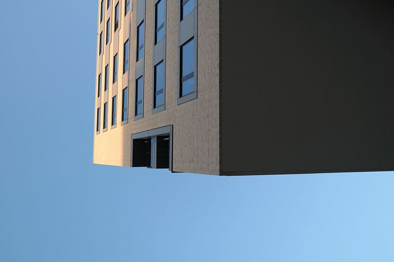floating house Architecture Building Exterior Built Structure Window Clear Sky City Copy Space Building Low Angle View Tall - High Directly Below Skyscraper Repetition Blue Day Office Building No People Geometric Shape Modern The Magic Mission Hamburg Harbour Hamburg Hafencity Hamburg The City Light