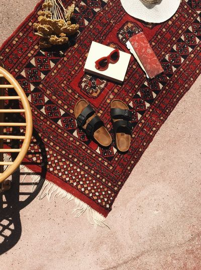 Summer time Holiday High Angle View Sunlight Shoe Day Nature Pattern Directly Above Outdoors