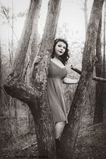 Fashion Model Forest Beautiful Woman Looking At Camera Young Women Tree Trunk One Person Beauty Nature Outdoors Beautiful People Spooky Sepia Toned Black&white Blackandwhitephotography Blackandwhite Photography Blackandwhite Dark Photography PinUpGirl Vintage Style Young Adult Only Women Fashion