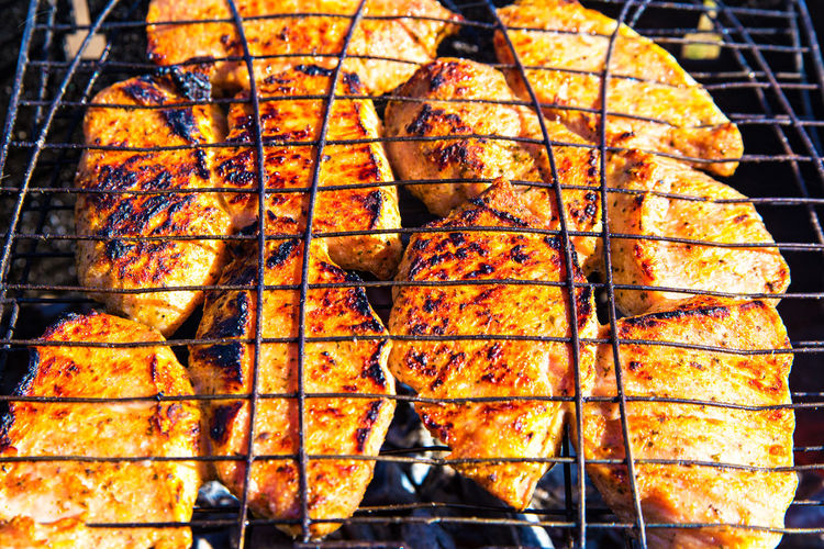 Food Food And Drink Barbecue Freshness Grilled Close-up Barbecue Grill No People Meat Day Heat - Temperature Healthy Eating Wellbeing Preparation  Outdoors Orange Color Metal Seafood High Angle View Preparing Food Snack Temptation