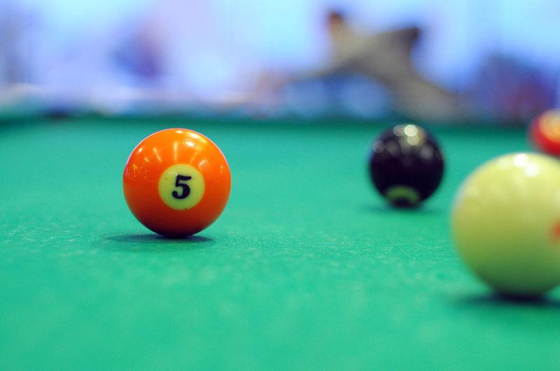 High angle view of ball on pool table