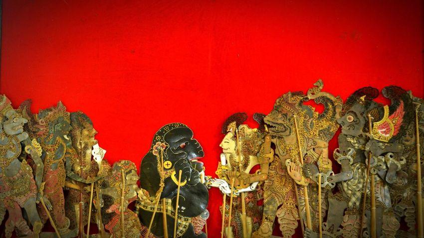 Human Representation Art And Craft No People Red Indoors  Day Puppets Bali, Indonesia Hinduism Mahabharata