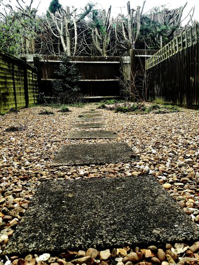 Close-up Cul-de-sac The Road To Nowhere Step Into The Dark Side Pave Steps Walkway Walkway On Pebbles Back Garden Fence Hello World Check This Out Sky