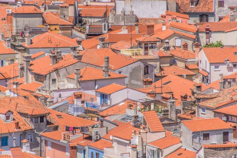 Roof Building Exterior Architecture Crowded House Residential Building Built Structure Full Frame Outdoors High Angle View Day Tiled Roof  Town City Backgrounds Cityscape People
