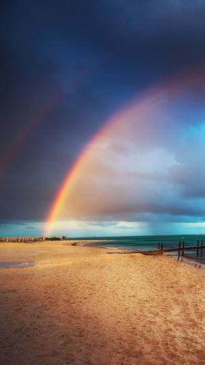 Water Sea Multi Colored Beach Sunset Wave Sand Summer Storm Cloud Rainbow