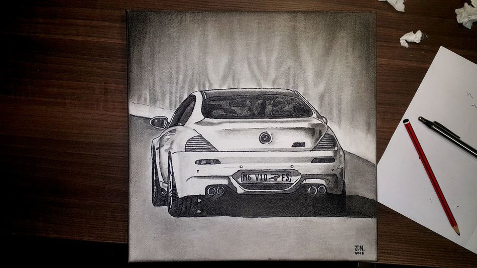 A drawing for a friend Cars Black And White Portrait BMW M6 Leisure Time Graphite Art Love What You Do And Do It Well No People Technology Indoors  Wireless Technology Close-up