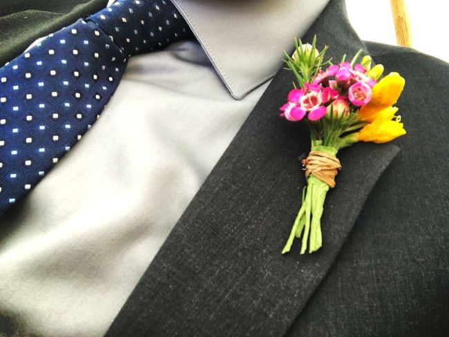 Flowers on the F.O.G. (Father of the Groom) Wedding Groom Boutonniere Lapel Suit Flower Flowers Floral Marriage  Style Masculine Necktie Tie Formal Gentleman  Father