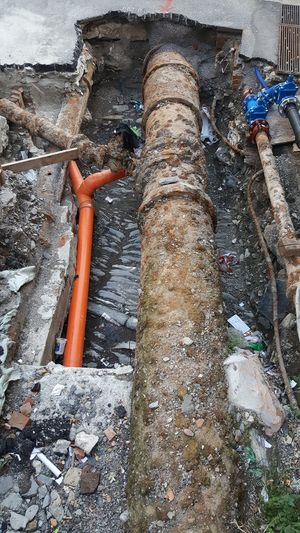 High angle view of pipe on wall