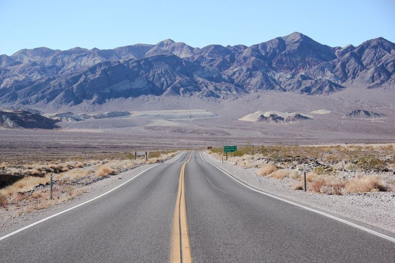 Road Mountain Scenics Miles Away Landscapes Outdoors Clear Sky Arid Climate Tranquil Scene The Way Forward Mountain Range Desert Beauty In Nature Tranquility No People Nature Sky Death Valley National Park Death Valley Tourism Physical Geography Desert Beauty Arid Landscape Road Tranquility