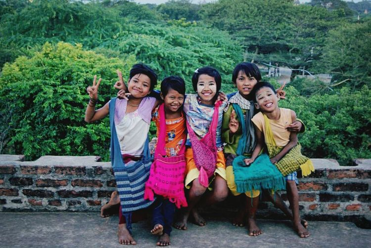 They all smiling :) Children At Pagoda Bagan In Myanmar