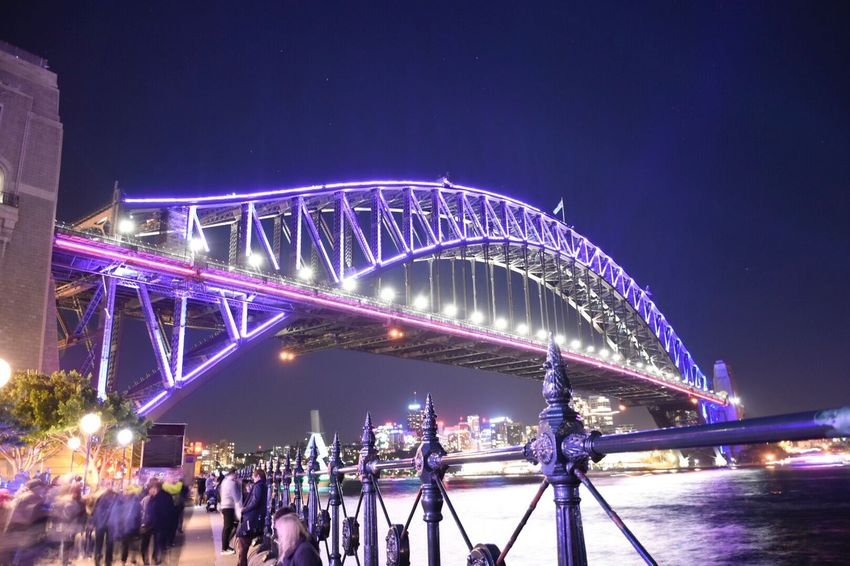 Nikon D7200 Nikon 18-140mm Night Illuminated Bridge - Man Made Structure Connection Large Group Of People Architecture Outdoors Arts Culture And Entertainment Clear Sky Sky Built Structure Performance Crowd Popular Music Concert City People