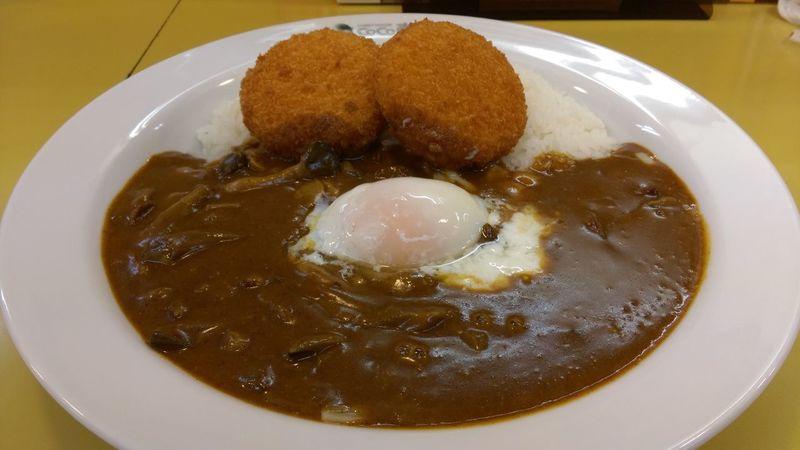 Curry Rice Croquette Egg キノコチーズ5辛+クリームコロッケ+半熟玉子 やっぱり3辛位でいいや(笑)