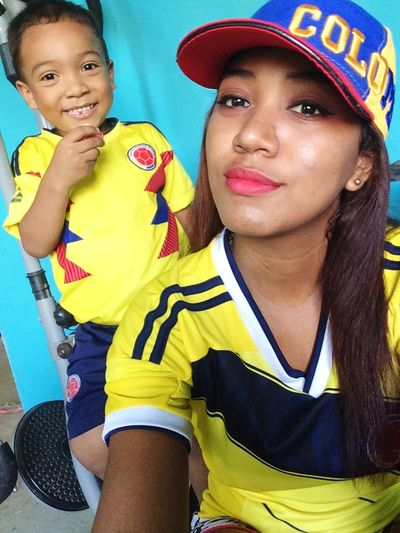 #Colombia #Cop #mundial #colombian #latina #morena #longhair #black #tbt #follow  Portrait Friendship Togetherness Looking At Camera Competition Headshot Standing Close-up Soccer Field Soccer Sports Uniform International Team Soccer Kids' Soccer Sports Jersey