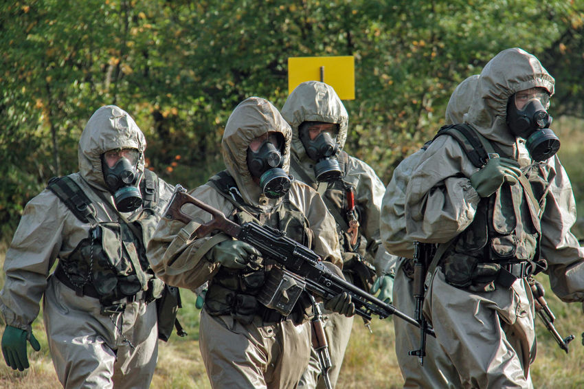 Gas Masks Military Compound Soldiers Army Army Soldier Chemical Troops Exercise Of A Chemical Branch Military Exercises Weapons