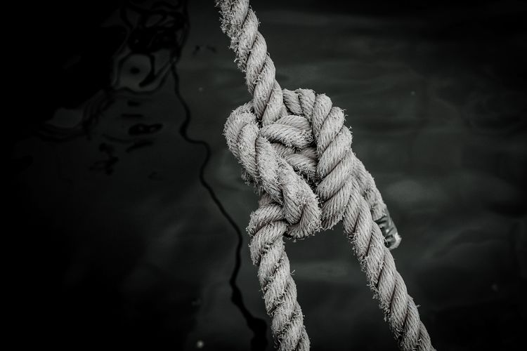 Close-up of rope tied