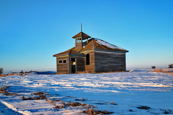 Cold And Clear Grampa Don't Live Here No More. One Room Schoolhouse Setting Sun Winter Skies Cold Winter ❄⛄ No People Outdoors Sky Sunset