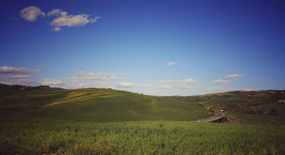 Agriculture Landscape Farm Field Crop  Hill Rural Scene Scenics Cloud - Sky Terraced Field Val D'orcia San Quirico D'Orcia Tuscany Travel Destinations Outdoors Sunlight Tranquility Road Inbetween Desert Road Bend Tarmac