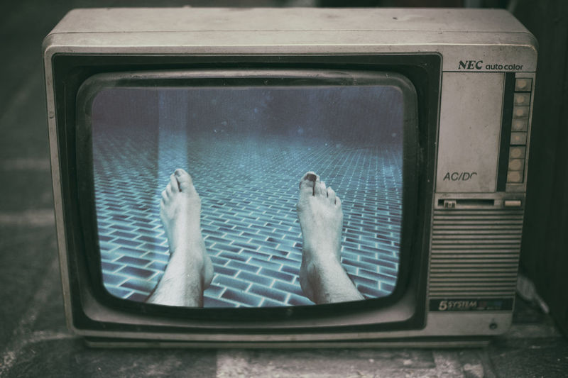 Old vintage TV photo montage human legs underwater pool 80s Analog Analogue Film Human Body Part Legs Movies Old-fashioned Pool Relax Resolution Retro Scared Scary Screen Technology Tv Vintage Style Watching