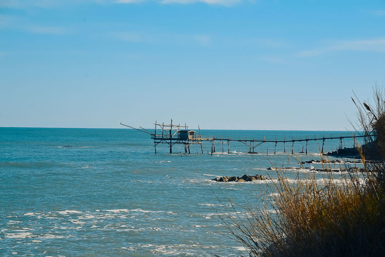 Beach Beauty In Nature Blue Built Structure Clear Sky Day Horizon Over Water Nature No People Outdoors Scenics Sea Sky Trabocchi Coast Trabocco Tranquil Scene Tranquility Water