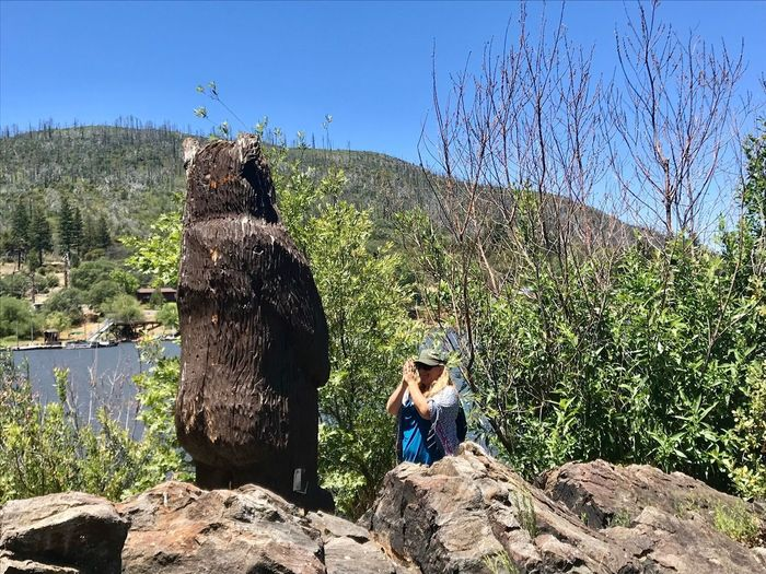 Lake Cuyamaca Namaste ❤ Honor Nature Blue Sky Lake Bear Statue Real People Plant Nature Tree Sunlight Lifestyles Day Sky Beauty In Nature Outdoors Women