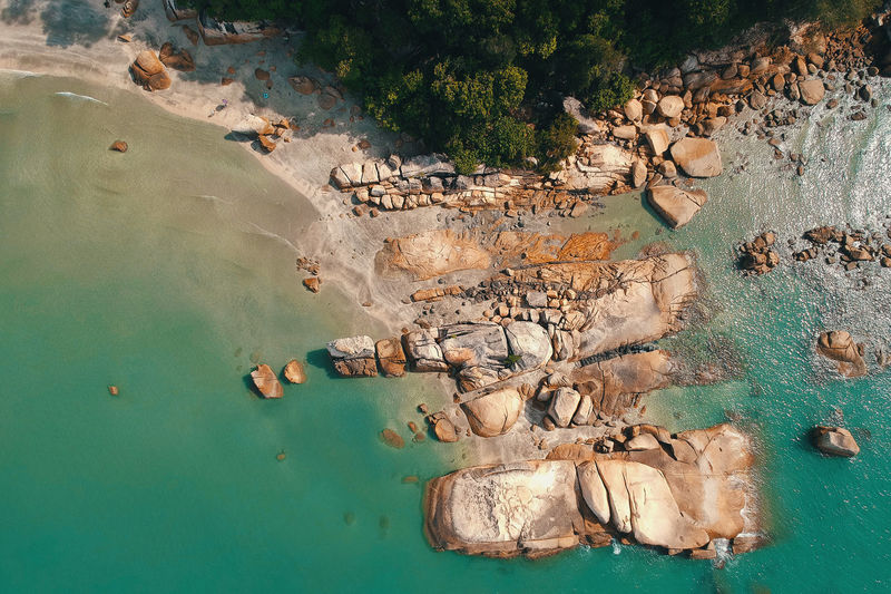 Beauty In Nature Day High Angle View Land Nature No People Non-urban Scene Outdoors Rock Rock - Object Rock Formation Scenics - Nature Sea Solid Tranquil Scene Tranquility Tree Turquoise Colored Water Waterfront