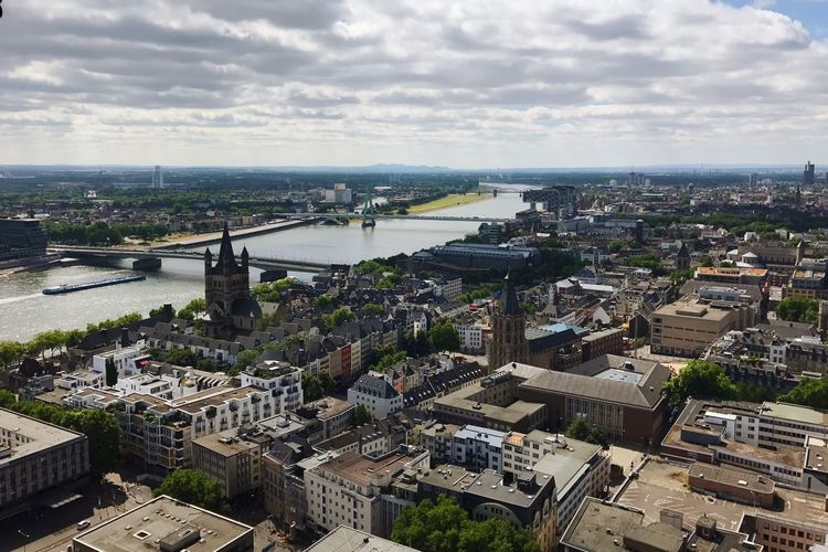 Rhine River Cologne Skyline Architecture Built Structure Sky Cityscape Building Exterior Cloud - Sky High Angle View City Outdoors Day Bridge - Man Made Structure No People Travel Destinations Water Horizon Over Water