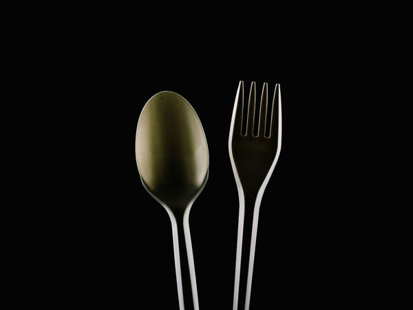 Fork and Spoon Black Background Close-up Eating Utensil Food Food And Drink Fork Gold Healthy Eating Isolated Kitchen Kitchen Utensils Metal No People PLASTIC CONTAINER Premium Restaurant Spoon Studio Shot