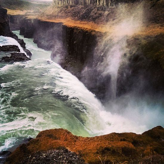 Iceland Goldencircletour Canyon Hvítá River Gullfoss Waterfall Spray Nature Power Water Spectacular Beautiful Scenery Travel Tourist Visiticeland