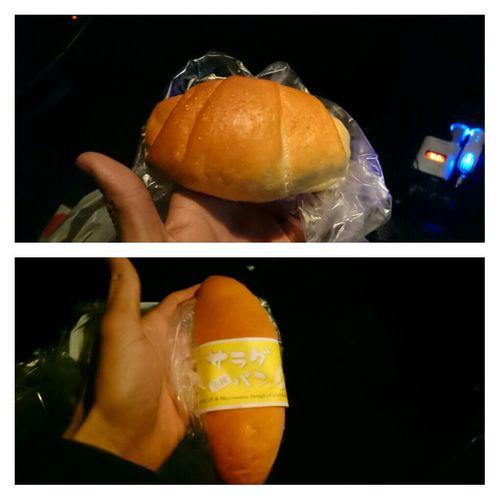 相馬 の イオン の中にある パン屋さん で 塩パン (画像からみたら上のパン)を買いました!フランスパンより少し柔らかくて味はマーガリンと塩がマッチしていて美味しいかったです♪。.:*・゜あとは サラダパン を買いました!!