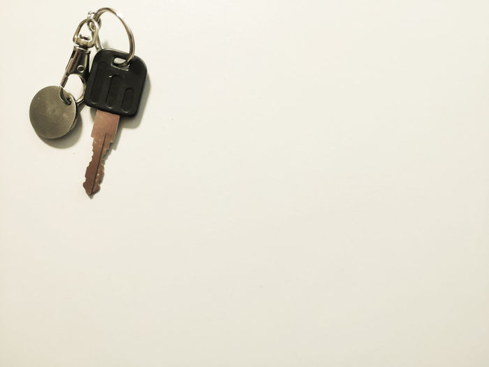 Key in the corner Open Keychain Lock Up Copy Space Close-up Key Keyring Hanging