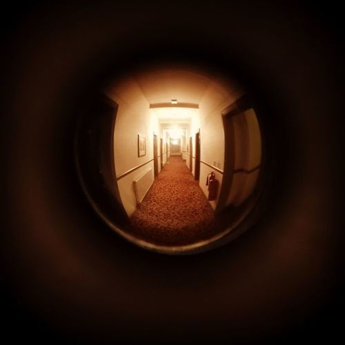 Fish Eye Abstract Obscure Art Artistic Hotel Creepy Corridor Illuminated Close-up Tunnel Light At The End Of The Tunnel ELLIPSE Ceiling Light