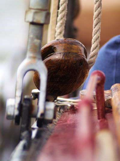 Close-Up Of Pulley In Sailboat