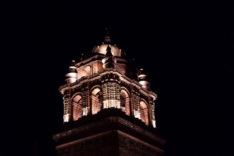 Cusco Coricancha Cúpula Noche Religion Religious  Iglesia Low Angle View Architecture Built Structure Night Sky Building Exterior Belief Copy Space Place Of Worship Spirituality Building No People Illuminated Clear Sky Tower Nature The Past Ornate Spire