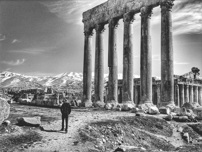 Lebanon Mountain View Black & White Sight Seeing Temple Ancient Architecture Baalbek Jupiters Temple Baalbek Ancient Civilization Ancient Pillars