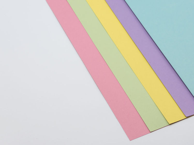 colored paper backdrop Adhesive Tape Art And Craft Choice Close-up Copy Space Cut Out Day Group Of Objects High Angle View Indoors  Multi Colored No People Paper Pattern Pink Color Purple Still Life Striped Studio Shot Variation White Background Yellow