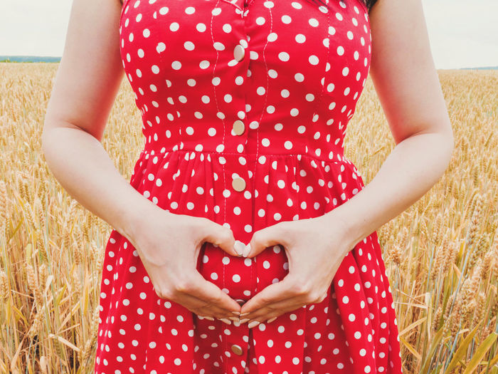 Pregnant unrecognizable woman in polka dot red dress standing in wheat field and showing heart symbol on her belly background. Midsection Heart Shape Red Pattern Love Adult Women One Person Real People Polka Dot Land Front View Human Body Part Positive Emotion Casual Clothing Day Standing Emotion Pregnant Pregnancy Belly Baby Mother