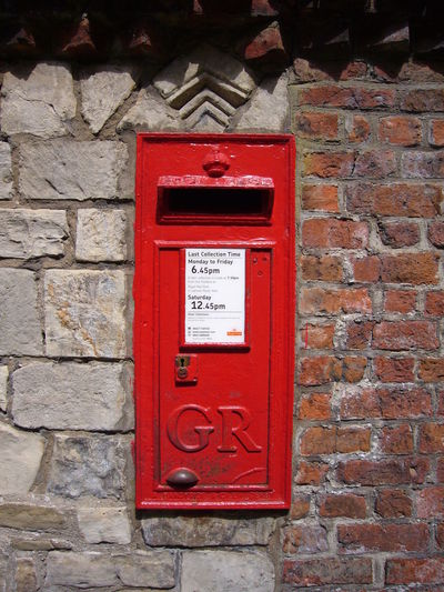 Communication Day George Rex Gr No People Old Old-fashioned Outdoors Post Box  Red Red Red Post Box Text Wall Western Script
