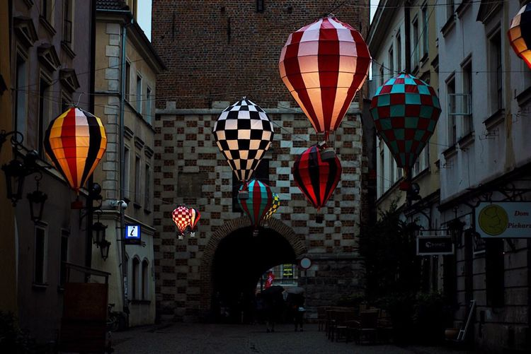 EyeEm Best Shots Noc Kultury Poland Eurotrip Travel Europe Lublin Baloons Architecture Built Structure Building Exterior Lantern Road Sign Multi Colored Hanging No People City Outdoors Day