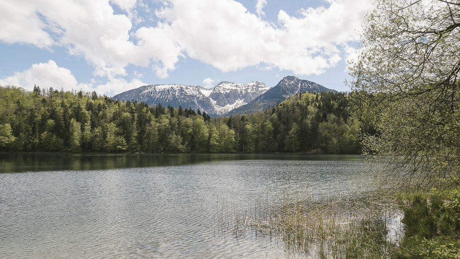 Scenic view of lake alatsee against sky at allgau