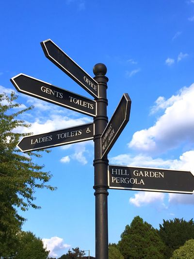 Direction Directional Sign Guidance Communication Text Low Angle View Capital Letter Sky Nature