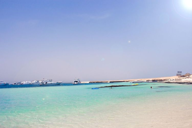 Sea Water Beauty In Nature Scenics Nature Nautical Vessel Tranquil Scene Tranquility Outdoors Blue Sky Beach No People Transportation Clear Sky Day Horizon Over Water