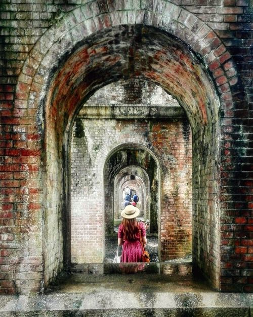 Parallel Worlds Mirrors Lady In Red Japan Arch Bridge Perspective Vanishing Point