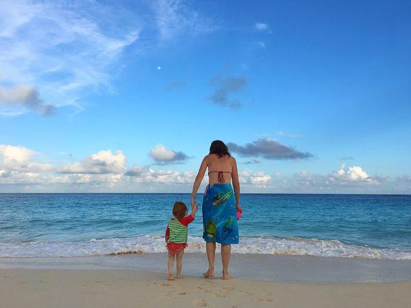 Beach Life II Bermuda Beachlife Enjoying Life Taking Photos Inthemoment Paradise Daughter Moon Sky And Clouds Mother & Daughter Beach Islandlife Relaxing Love Truelove Women Around The World