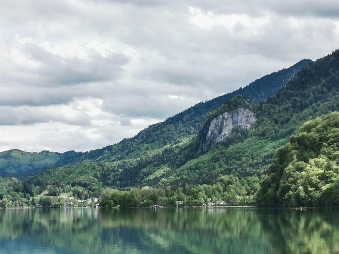 Scenic view of lake kochelsee and mountains against sky - reflection