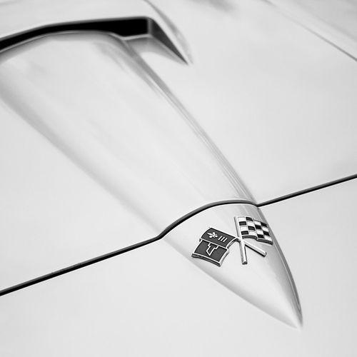 1966 Corvette Stingray Hood Detail 1960s Automobile Automovt Blackandwhite Blackandwhitephotography Car Cars Classic Classic Car Classiccar Closeup Corvette CorvetteStingray Details Hood Midcentury Square Squareformat Vintage