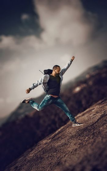 EyeEm Best Shots EyeEmNewHere EyeEm Gallery EyeEm Selects EyeEm EyeEm Best Edits EyeEm Team Happiness Jumping People Teen Rocky India Kerala Portrait Travel Motion Capture Motion Photography Jacket Jeans Young Adult This Is Masculinity Go Higher