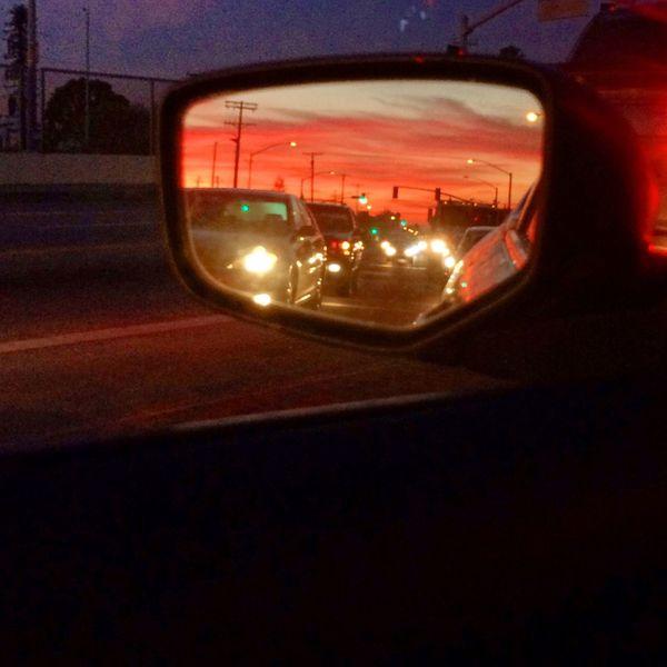 Stop light photo. Pink Sky Car California