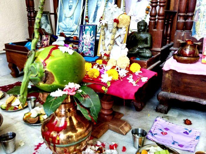 VasantPanchami Festival Saraswatipuja Celebration at Home. The Hindu Deity Of Education And Culture. Devi Saraswati Tomay Pranam.
