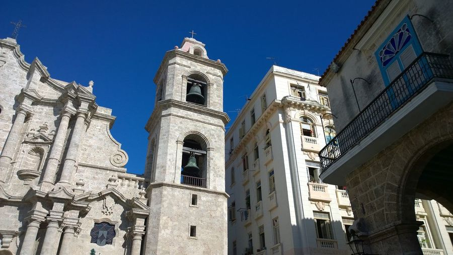 Low angle view of plaza de la catedral and buildings in city